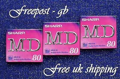 3 Sharp Recordable Digital Audio Minidiscs- 80 Minutes- Brand New Boxed  Md-R80