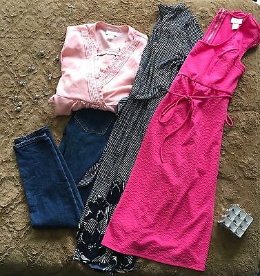 Motherhood Maternity Women's Spring Dress Tops And Skinny Jean Outfit Lot Size S