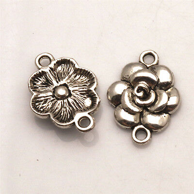 Rose Flower Tibetan Silver Jewelry Finding Connectors