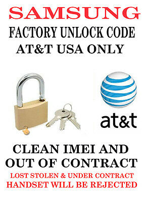 AT&T USA UNLOCK CODE SAMSUNG Grand Prime SM-G530A G530 CLEAN IMEI OUT OF CONTRAC