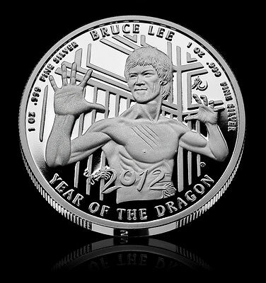 Bruce Lee Coin #24 - 2012 Year of the Dragon Silver Proof 75 Minted Worldwide