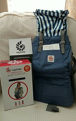 New in box. Ergo Baby Carrier Beach House Blue with stripes