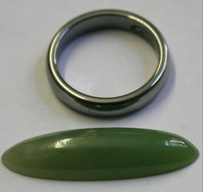 Natural Green Jade Loose Gemstone 9X32Mm Marquise Cabochon 12.3Ct Gem Ja50