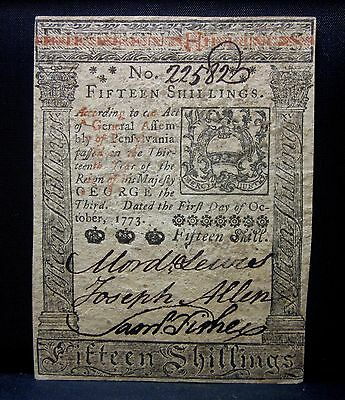 Colonial Currency ✪ Pennsylvania October 1St 1773 ✪ Fr Pa-168 15S R582◢Trusted◣
