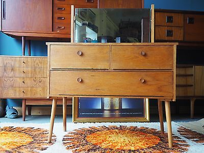 Vintage Mid Century Pale Teak Dressing Table with Mirror UK DELIVERY AVAILABLE