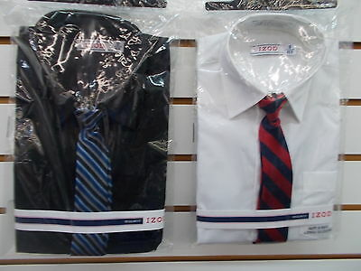 Boys IZOD $30 Black or White L/S Dress Shirt w/ Clip-On Tie Size 8 Reg-18 Husky
