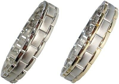 Mens or Womens Magnetic Bracelets Silver or Silver / Gold Colour Linked Bangles