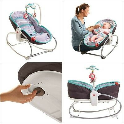 3 in 1 Rocker-Napper Turquoise Safe Infant Baby Bed Sleep Nursery Home Decor New