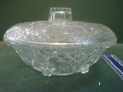 Pressed Glass  Covered Candy Dish Hearts And Flowers Design