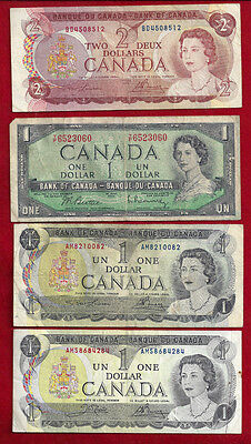 4  Vintage Bank Of Canada Notes $5.00 Fave Value