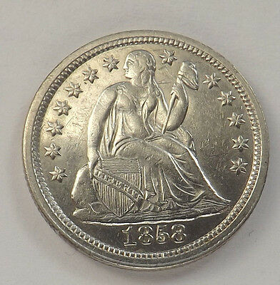 1858 10C Liberty Seated Dime Uncirculated Eye White See Pic's Lot#79097