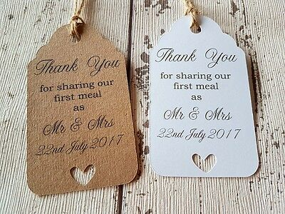 Personalised THANK YOU Favour Gift Tags Wedding Favours Label Kraft Vintage