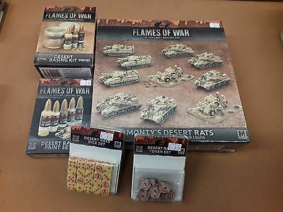 Flames of War Monty's Desert Rats with paint set, dice, tokens and basing kit
