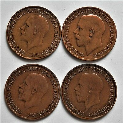 Lot Of 4 Old British Pennys King George V Coins