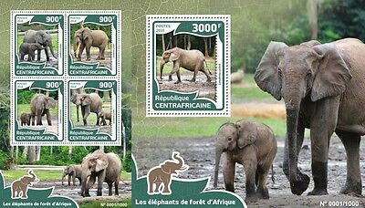 Z08 Imperforée CA16001ab CENTRAL AFRICA 2016 éléphants MNH Jeu