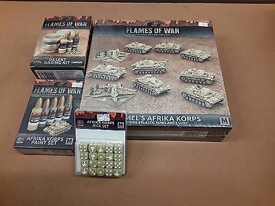 Flames of War Rommel's Afrika Korps box set with dice paints and basing kit