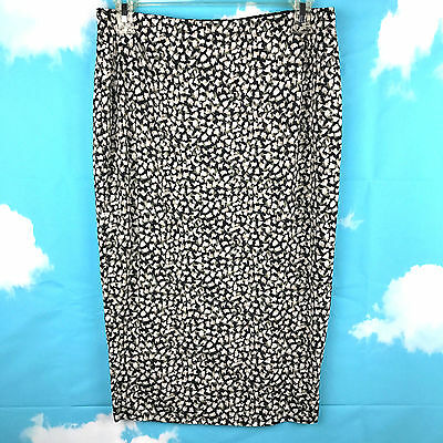 Vince Camuto Lined Black White Print Skirt Womens Size S Elastic Waist Stretch