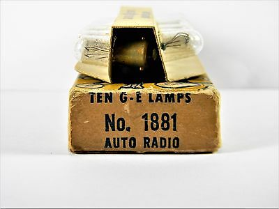 Box Of Ten (10) GE  Miniature Bayonet Base Number 1881 Auto Radio  Light Bulbs