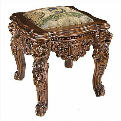 Antique Replica Lord Raffles Lion Leg Gothic Hand Carved Solid Mahogany Stool