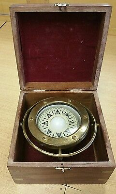 Vintage Brass Gimball Nautical Compass Boxed Maritime Pirate