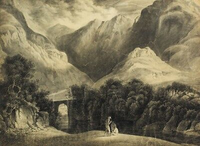 Mountain Pass - Original 19th Century Charcoal Drawing