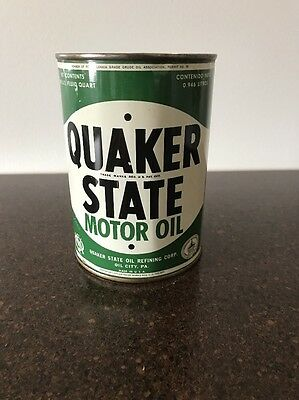 Quaker State Motor Oil NOS 1 Qt Can Oil City Pa