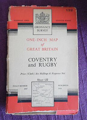 """Vintage Ordnance Survey Map on linen 1"""" No. 132 COVENTRY & RUGBY -  Pub 1954"""
