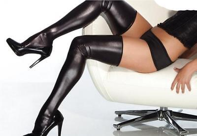Black Pvc spandex wetlook Stunning hold up stockings thigh high 35inch Length