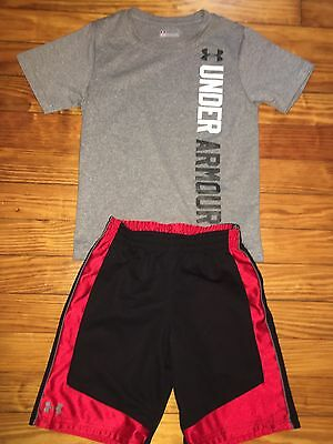 Boys Kids Under Armour Reversible Red Shorts Shirt Summer Outfit Size 5 EUC