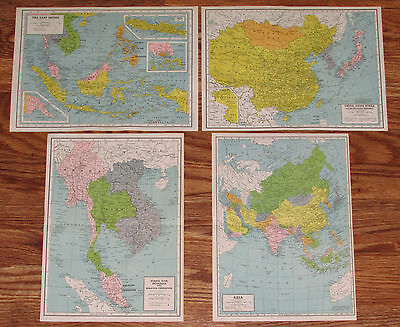 Vintage East Indies Asia Japan China Burma Far East Map Lot Enclyclopedia Old