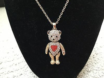 Pendant-Dancing Bear with Chain-Clear Crystal Head & Body w/ Red Crystal Heart
