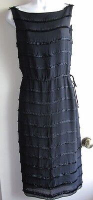 682370883c1e Cynthia Rowley Nwt $205 Black Fringe Sleeveless Sheath Cocktail Dress Sz 4
