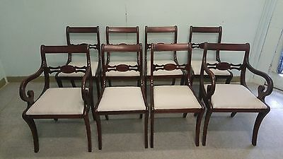 DREXEL Lot of 8 Solid Mahogany Duncan Phyfe Dining Chairs