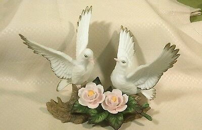 Bisque porcelain figure of two Peace doves on flowered branch NIB