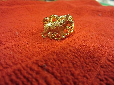 Lovely Adjustable Gold Plated Figural German Shepherd Ring-One Of A Kind