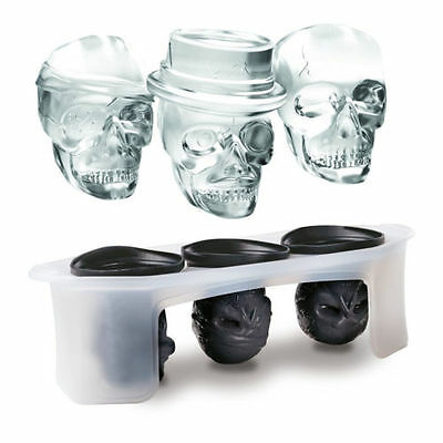 (A set of 3 ) 3D Skull Silicone Ice Cube Mold Ice Cube Maker Whiskey Drink Ball