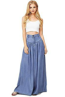 Women's Cute Super Wide Leg Denim Pants Light Weight Tencel Fabric Made in USA