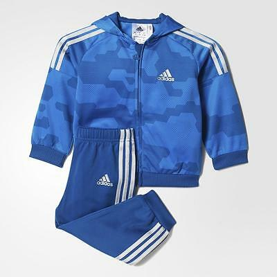 adidas infant/baby boys blue polyester tracksuit. Jogging suit. 18-24M & 2-3Y