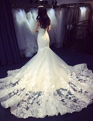 New White/Ivory Lace Bridal Gown Wedding Dresses Custom 4 6 8 10 12 14 16 18+