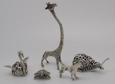 42g JOB LOT - Vintage Solid Silver 5 x Italian Animal Miniatures -Collection #13