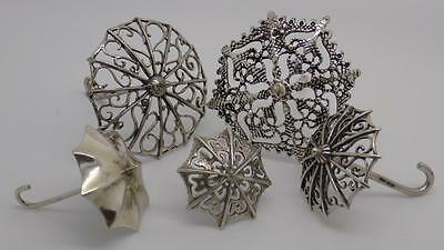 38g JOB LOT - Vintage Solid Silver 5 x Italian Umbrella Miniature Collection #2