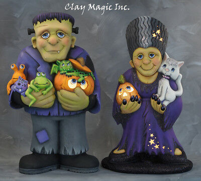 Pair  Of Ceramic Bisque Hand-Painted Large Frankie And Mrs. (Electric Included)