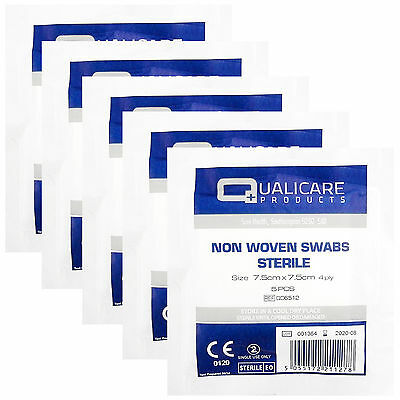 25 High Quality None Woven Sterile Qualicare Gauze Swabs 4PLY, 7.5cm x 7.5cm