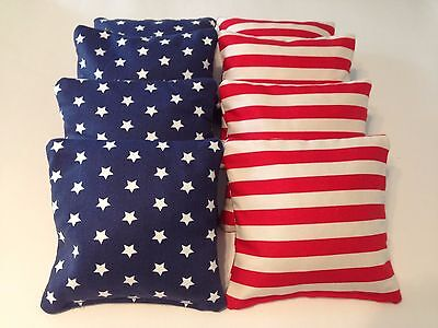 8 American Flag Cornhole Bean Bags Tailgate Toss Game Regulation Free Shipping