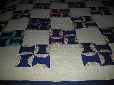 Vintage Blue & White Pinwheel  Hand Stitched Quilt About 80 x 67 Inches