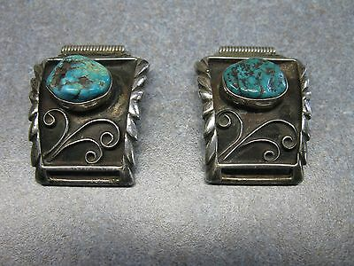 Vintage Old Pawn Silver And Turquoise Watch Tips