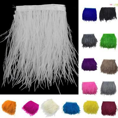 1 Yard Ostrich Feather Fringe Trim Costume Sewing Crafts Millinery Decor 10-15cm