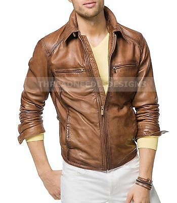 Men Leather Jacket Brown Stylish Slim Fit Biker Jacket
