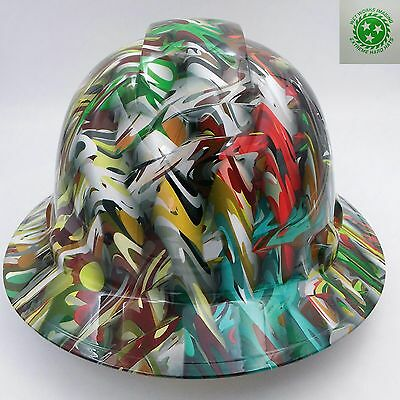 Hard Hat FULL BRIM custom hydro dipped , OSHA approved PSYCHEDELIC CAMO HOT NEW