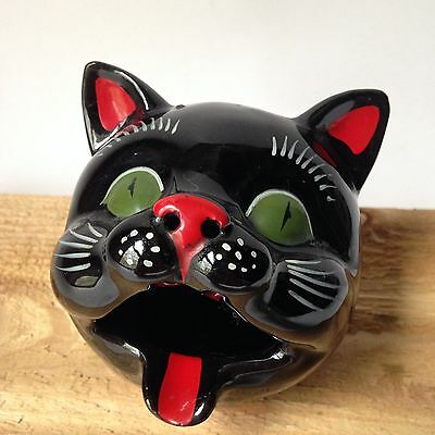 Vintage Shafford Japan Black Cat Head Ashtray Redware Incense Burner Figure